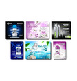 deodorant antiperspirant promo posters set vector image vector image