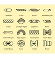 Different pasta types line icons set vector image