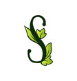 doodling eco alphabet letter stype with leaves vector image