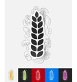 ears of wheat paper sticker with hand drawn vector image vector image