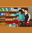 family shopping grocery together vector image vector image