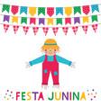 festa junina brazil june party card vector image vector image