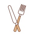 fork and knife cutlery kitchen eating vector image