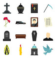 funeral set flat icons vector image vector image