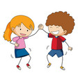 happy doodle boy and girl vector image vector image