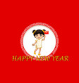 happy new year background design with chinese girl vector image vector image