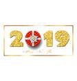happy new year card 3d gift box ribbon bow vector image vector image