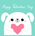 happy valentines day white dog puppy head face vector image