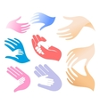 Isolated abstract adult and child hands logo set vector image vector image
