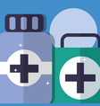 kit first aid and medicine pharmacy medical vector image