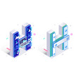 letters h with social networks elements vector image