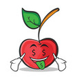money mouth cherry character cartoon style vector image vector image