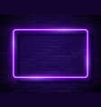 neon glowing rectangle frame for banner on dark vector image vector image