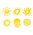 painted sun icon grunge design element for vector image vector image