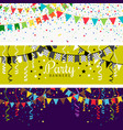 party banners with garland of colour flags vector image vector image