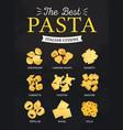 pasta italian cuisine menu restaurant food dishes vector image