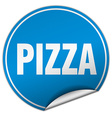 pizza round blue sticker isolated on white vector image vector image