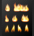 realistic fire flames transparent set vector image