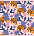 seamless pattern with tigers in the jungle vector image
