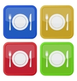 set of four square icons - cutlery and plate vector image
