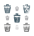 Set of hand-painted simple trash can icons vector image vector image