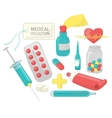 Set of medical paraphernalia in a cartoon style vector image