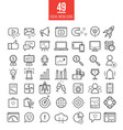 social media marketing modern line icons set vector image