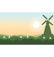 Spring landscape with windmill vector image vector image