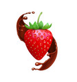 strawberry in chocolate liquid splash realistic vector image vector image