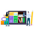student and laptop online library and education vector image vector image
