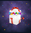 surprise gift box on darc background confetti vector image vector image