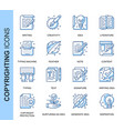 thin line copyrighting related icons set vector image