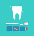 tooth brush and toothpaste toothbrush with paste vector image