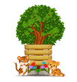 two tiger in front of an empty wooden signboard vector image vector image
