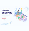 woman shopping online sitting on sofa vector image