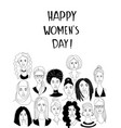 womens head background grunge line drawing doodle vector image vector image
