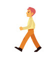 young smiling man walking forward in flat style vector image vector image