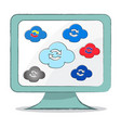 cloud sync icon on computer monitor - vector image