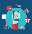 Mobile Marketing in Flat design vector image