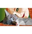 Colorful low-poly portrait of laying cat and face vector image