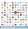 100 logistics icons set cartoon style vector image vector image