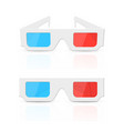 3d glasses set isolated on white vector image
