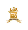 79 years gift box ribbon anniversary vector image vector image