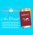 air travel banner with world map airplane passport vector image vector image