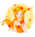 autumn fairy with maple leaf vector image