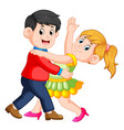 beautiful girl dancing salsa with her boy vector image