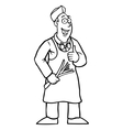 Black and white greengrocer with his thumbs up vector image vector image