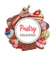 cakes and cupcakes pastry round banner vector image