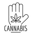 Cannabis in palm logo outline style