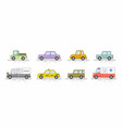 car icons set flat colors style vector image vector image